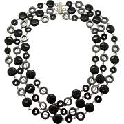 Triple Strand Black Onyx And Hemalyke Necklace