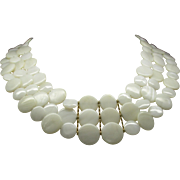 Beautiful White Mother Of Pearl Triple Strand Necklace