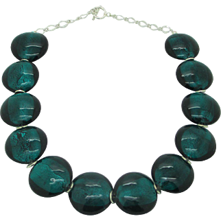 Beautiful Teal Dichroic Glass Single Strand Necklace