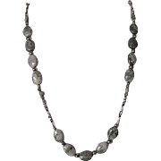 """Single Strand Green Purple and White Peace """"Jade"""" and Silver Necklace"""