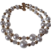 White Swarovski Crystal Pearl And Clear Swarovski Crystal Double Strand Bracelet