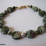 Unique Moss Green Natural Rhyolite Bracelet