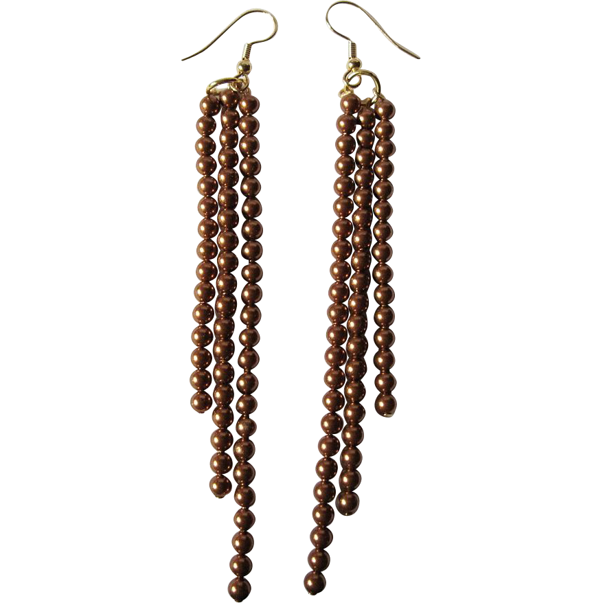 Swarovski Crystal Copper Colored Pearl Dangle Earrings