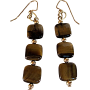 Eye Of The Tiger  Tiger Eye And Gold Earrings