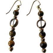 Golden Tiger Eye Looking Glass Dangle Earrings