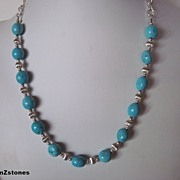 Blue Turquoise Silver Bead And Chain Necklace