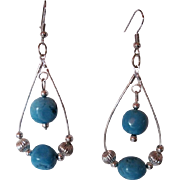 Beautiful Blue Turquoise And Silver Dangle Earrings
