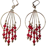 Beautiful Bright Red Swarovski Crystal And Gold Dangle Earrings