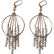 Cascading White Lotus Cultured Freshwater Pearls, Swarovski Crystals And Gold Dangle Earrings