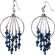 Beautiful Bright Blue Swarovski Crystal And Silver Dangle Earrings