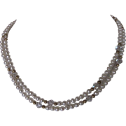 Double Strand White Lotus Cultured Freshwater Pearl And Swarovski Crystal Necklace