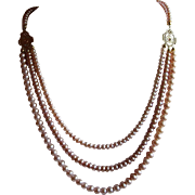 Triple Strand Natural Mauve White Lotus Cultured Pearl Bib Necklace