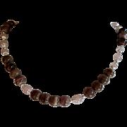 Rose Quartz and Mocha Sea Urchin Bead Necklace
