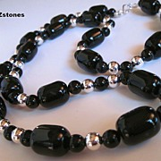 Black Onyx And Silver Single Strand Necklace