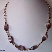 Delicate Lavender Cats Eye, Swarovski Crystal And Gold Single Strand Necklace