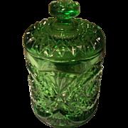 Vintage Imperial Glass Hobstar Pattern Green Glass Humidor or Biscuit Barrel Jar