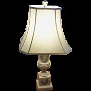 Vintage Porcelain Wedgwood Black Design Toile Transferware Table Lamp