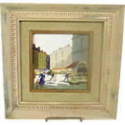 Charles H. Nicoise Mid Century Italian Oil on Porcelain framed Art Picture with Greek Key carved Frame Old Parisian Daily Life Blvd. Haussmann