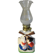 Vintage Dutch Couple Kissing Couple with Windmill Mini Oil Lamp