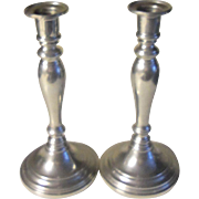 Vintage Hand Made Danish Quality Pewter Candlestick Pair