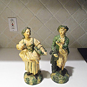 Vintage Borghese Plaster Chalkware Pair of Italian Figurines