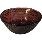 Blenko Handcrafted Maroon Wine Burgundy Bowl with Seal
