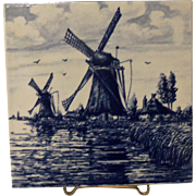 Delft Blue Blau Hand Painted Windmill Scene Tile HOLLAND