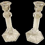 Vintage Val St. Lambert Gardenia Lead Crystal Candlestick Pair