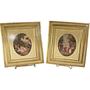"Vintage Italian Florentine Gilded ""Noonday"" and ""Morning"" Scenes"