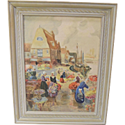 "Vintage Dutch Scene Oil on Canvas ""Picking Tulips"""