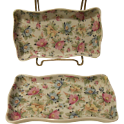 Limoges France Pair of Chintz Floral Mint, Jewelry, or Pin Dish Trays