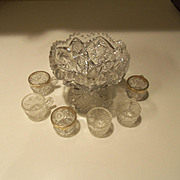 Vintage Child's Mini Cut Glass Punch Bowl with Cups
