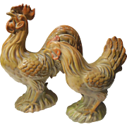 Vintage Italian Majolica Rooster and Hen Set