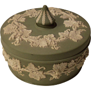 Vintage Wedgwood Jasperware Sage Green Large Covered Box