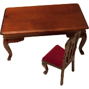 Miniature Chippendale Table and Chair for Dollhouse