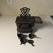 Vintage Crescent Child's Miniature Cast Iron Wood Stove