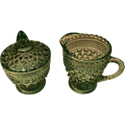 Vintage Anchor Hocking Sea Green Wexford Diamond Design Sugar and Creamer Set