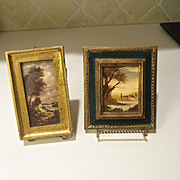 Vintage Pair of Italian Florentine 18th Century Landscape Small Pictures