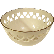 Lenox Reticulated Ivory Heart Bowl Centennial 1889-1989