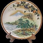 Vintage Satsuma Large Hand Painted Asian Seascape SIGNED Meiji Period