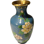 Vintage Asian Style Cloisonne Floral Blue Vase Urn