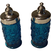 Vintage Imperial Blue Daisy Button Salt and Pepper Shakers