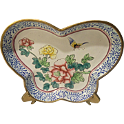 Vintage Cloisonne Asian Design Floral and Butterfly Dish Tray