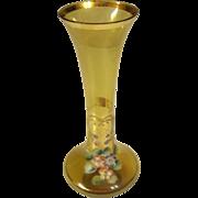 Vintage Venetian Crystal Hand Painted Amber Vase ITALY
