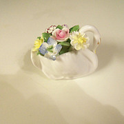 Vintage Royal Doulton Bone China Swan with Flowers England