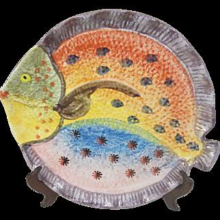 Majolica Art Pottery Multi Colored Fish Plate