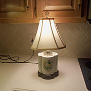 Vintage Asian Table Lamp with Painting in Asian Garden