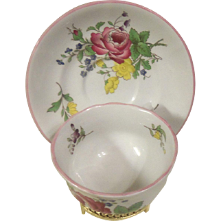 Vintage Spode Marlborough Sprays Flat Cup and Saucer Set England