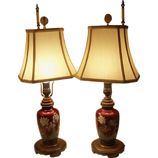 Vintage Pair of Pigeon Red Asian Glass Fish Scale Table Lamps