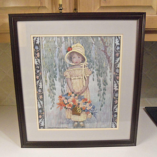 Vintage Hand Embroidered Crewel Framed Shabby Young Girl with Basket - Signed